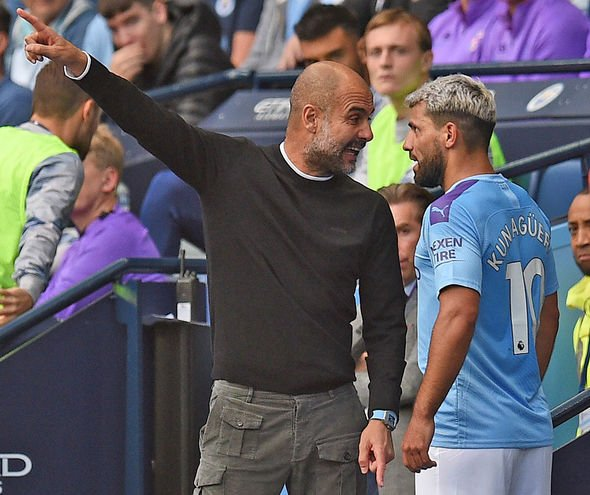 Pep Guardiola and Sergio Aguero appeared to be in a heated discussion