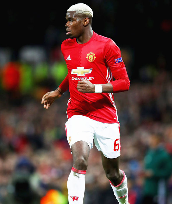 Paul Pogba in Europa League action for Manchester United against Saint-Etienne