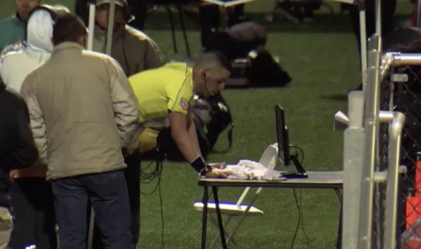 Referee checking video technology