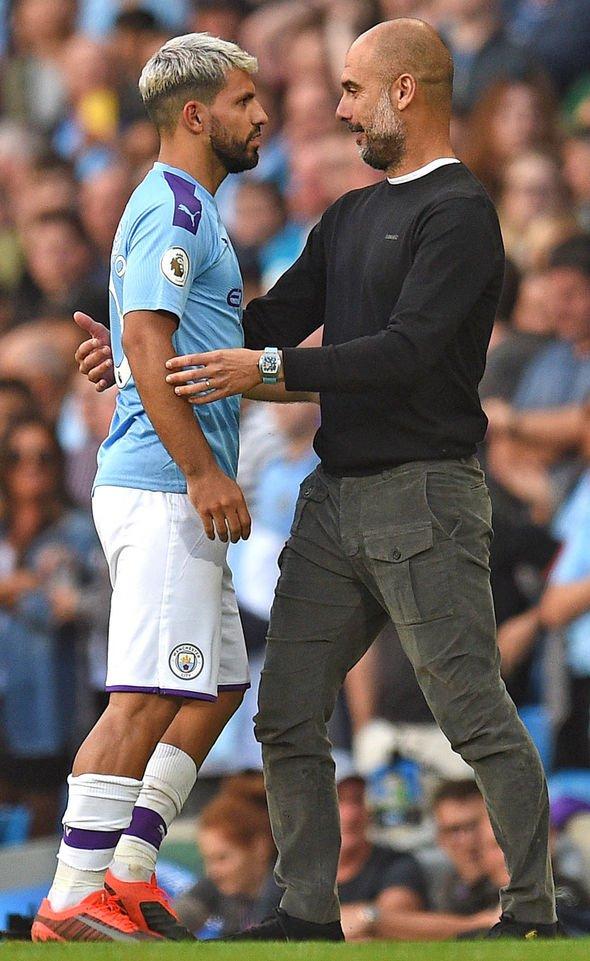 Sergio Aguero embraced Pep Guardiola after Jesus hit the net