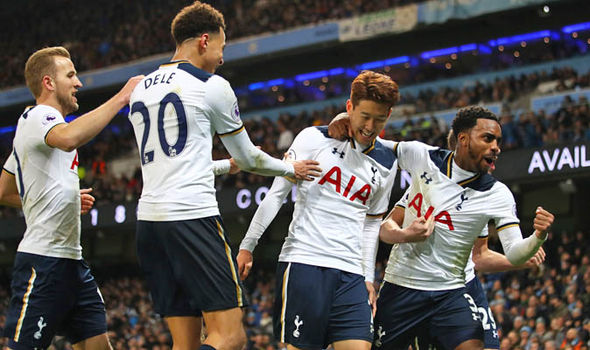 Tottenham players celebrate a goal