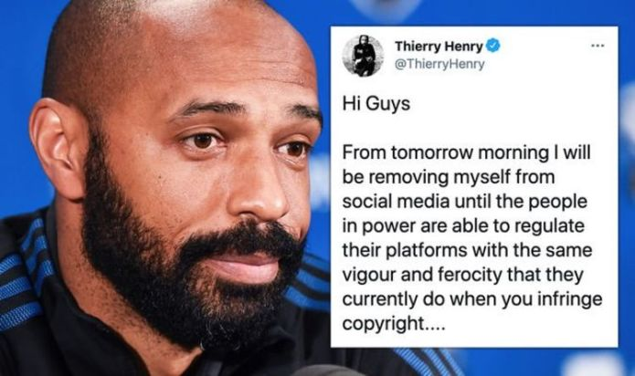 Thierry Henry quits social media as Arsenal legend calls for action on racist abuse