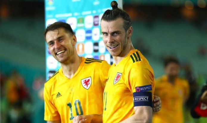 Gareth Bale takes cheeky dig at Aaron Ramsey as Wales close in on Euro 2020 knockout stage