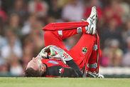 Peter Nevill injury Big Bash League Brad Hodge bat smashes face
