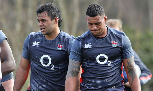 England rugby player Billy Vunipola and Nathan Hughes