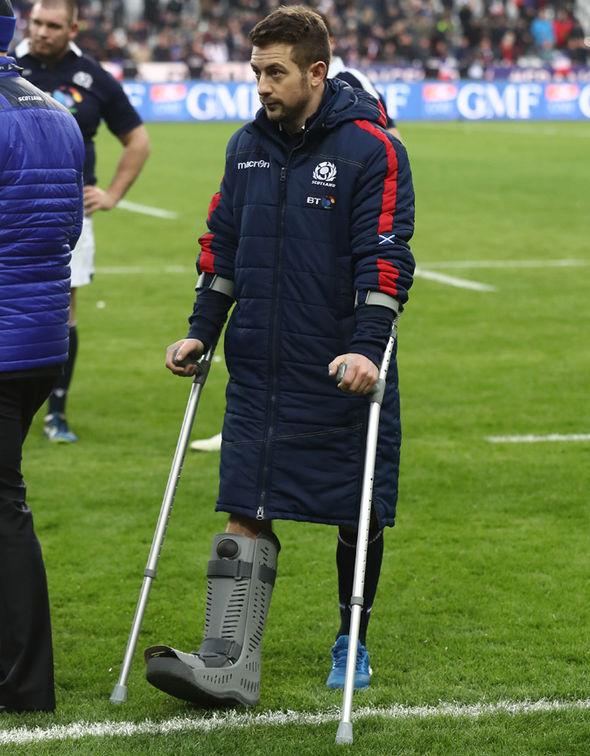 Greig Laidlaw on crutches