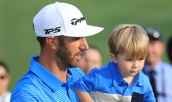 Dustin Johnson and son Tatum