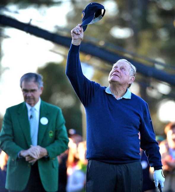 Nicklaus raised his cap to the sky in tribute to Arnold Palmer