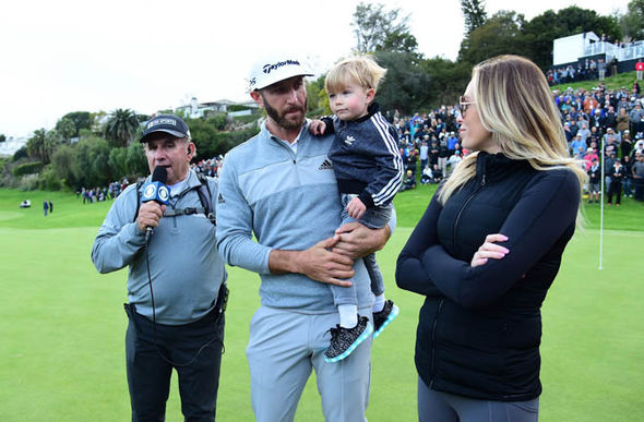 Dustin Johnson at Masters 2017 with Paulina Gretzky and son Tatum Gretzky Johnson