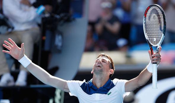 Novak Djokovic at the Australian Open  Australian Open 2018 results LIVE: Latest scores as Roger Federer and Novak Djokovic win | Tennis | Sport Novak Djokovic Australian Open 1196111