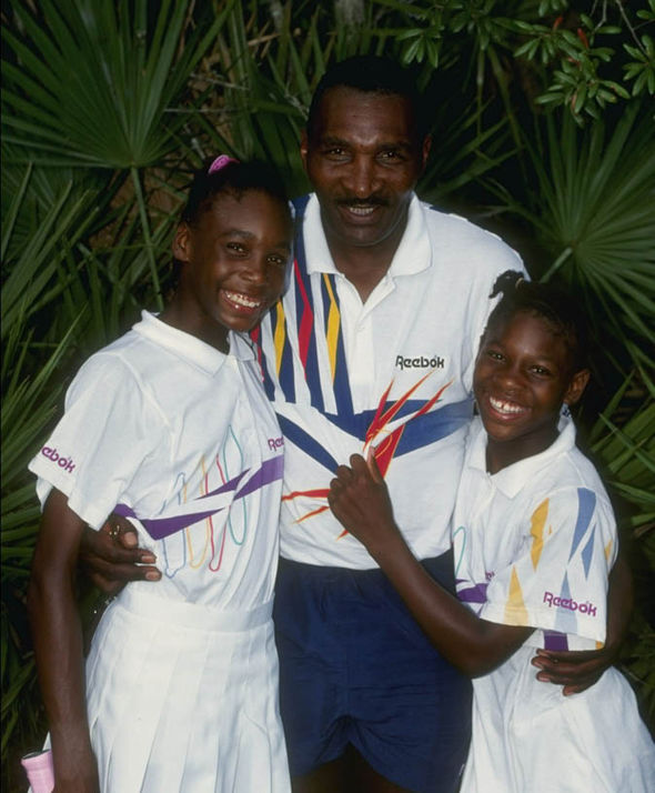 Venus and Serena Williams with their father
