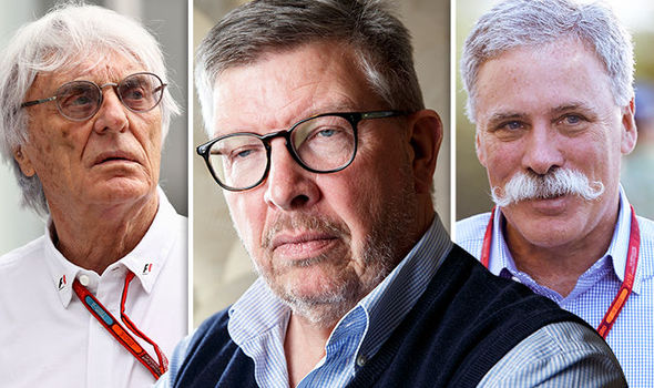 Bernie Ecclestone, Chase Carey and Ross Brawn