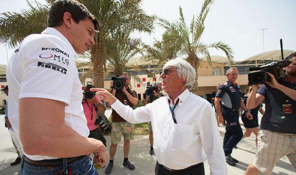 Bernie Ecclestone and Toto Wolff Mercedes F1 team boss