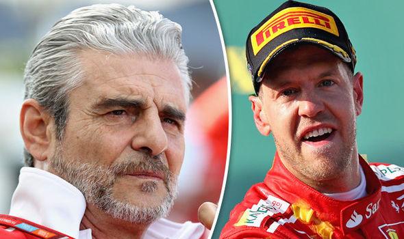 Ferrari boss Maurizio Arrivabene and driver Sebastian Vettel