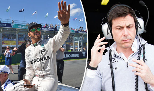 Mercedes F1 driver Lewis Hamilton and Toto Wolff