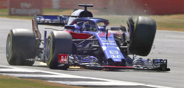 Brendon Hartley suffered a front-left suspension