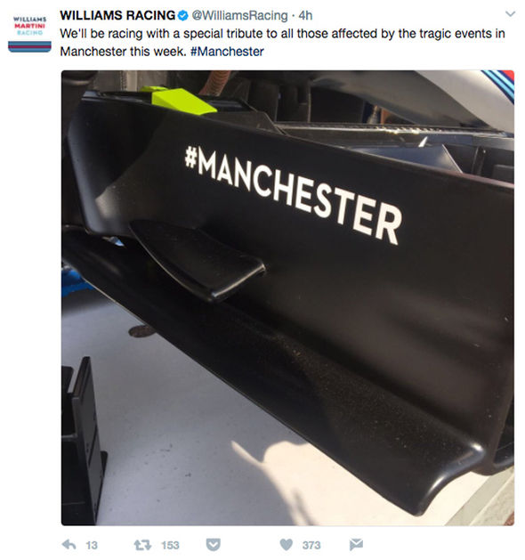 Williams pay tribute to Manchester attack victims at the Monaco Grand Prix