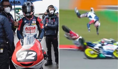Moto3 racer Takuma Matsuyama gets airborne in spectacular crash in Italian GP qualifying