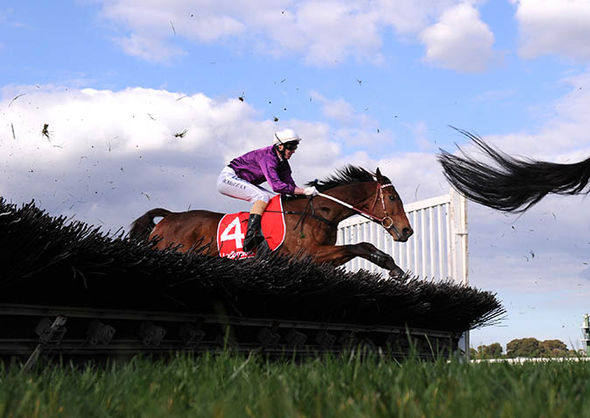 Racers at the Grand National at Aintree