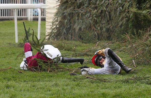 Crashed jockeys at the Grand National
