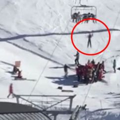 Ski Chair Lift Used Table And Chairs Heart Stopping Moment Boy Is Left Dangling From Chairlift Facebook