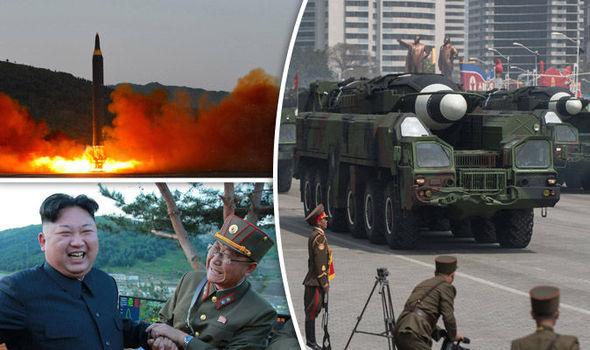 An unidentified rocket and Kim Jong-un