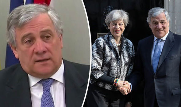 Antonio Tajani and Theresa May