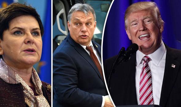 Beata Szydlo/Viktor Orban/Donald Trump