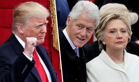 Hillary and Bill Clinton, Donald Trump and flags