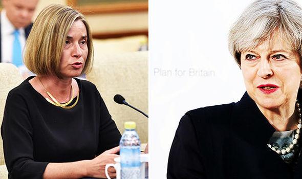 Federica Mogherini and Theresa May