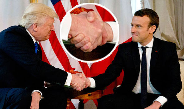 Donald Trump Emmanuel Macron handshake