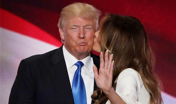Melania kissing President Donald Trump