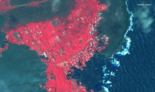 Hawaii volcano eruption lava flow map: