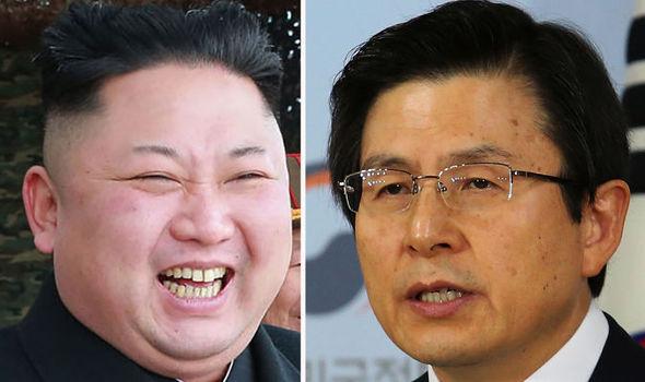 Kim Jong-un and Hwang Kyo-ahn