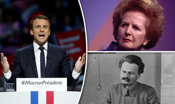 Macron has told referred to rivals Fillon & Mélenchon as Thatcher and Trotsky respectively