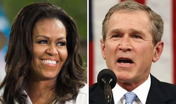 Michelle Obama taken in by George W Bush's twins during 'abnormal' White House stay