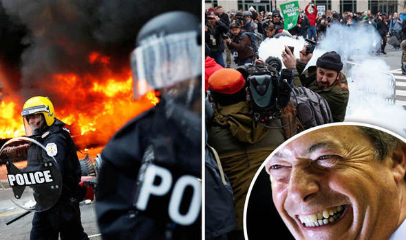 Police tackle protestors and Nigel Farage's face