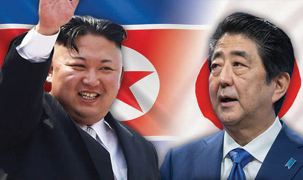 Kim Jong-un and Shinzo Abe