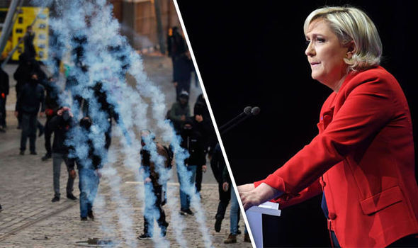 Protestors demonstrate ahead of Marine Le Pen rally