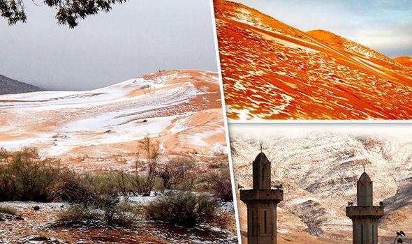The Sahara desert sands with snow