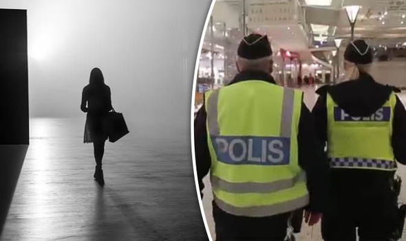 Swedish police and woman walking at night