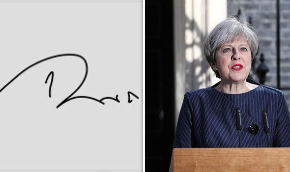 Theresa May's signature and Theresa May