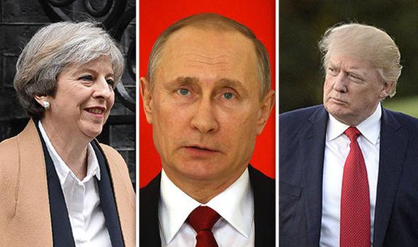 Theresa May, Vladimir Putin and Donald Trump