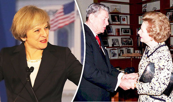 Theresa May praised Trump and Thatcher for freeing Eastern Europe