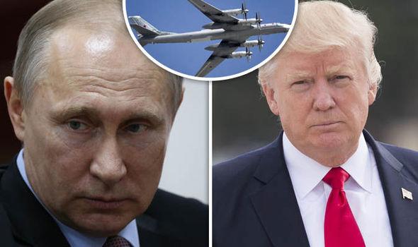 Vladimir Putin Donald Trump and Russian bomber