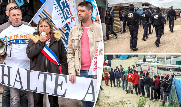 Police protest in Calais