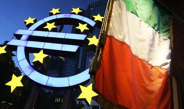 The Irish and EU flags