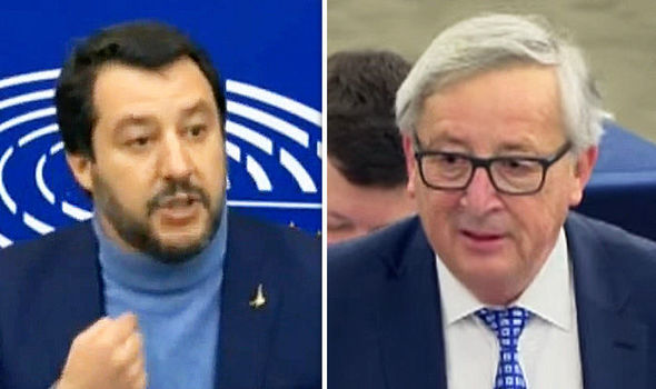 Italy news: Matteo Salvini and Jean Claude Juncker