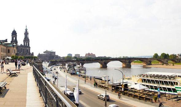 Dresden Elbe river bank