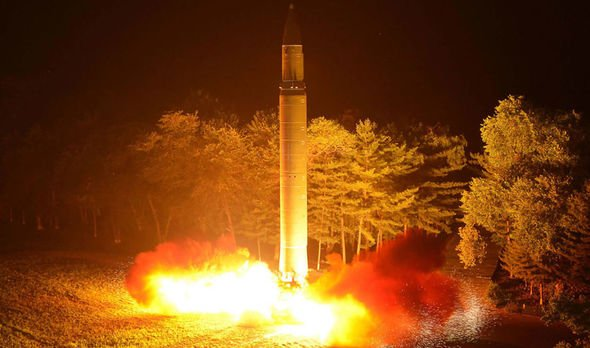 A North Korean missile test in 2018